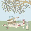 Picnic under a Tree — Stock Vector