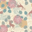 Seamless Pattern with Deers and Leaves — Stock Vector