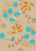Seamless Pattern with Leaves and Bugs — Stock Vector