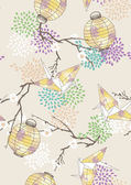 Seamless Pattern with Paper Cranes and Lanterns — 图库矢量图片