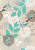 Seamless Pattern with Birds and Leaves — Stock Vector