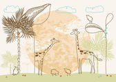 African Giraffes at Sunset — Stock Vector