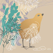 Bird in Grass — Stock Vector