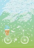 Bicycle and Blooming Tree — Stock Vector