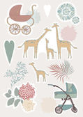 Cute Giraffe Family — Stock Vector