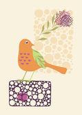 Little Bird Holding a Flower — Stock Vector