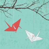 Paper Cranes — Stock Vector