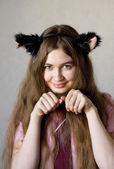 Girl Play Cat — Stock Photo