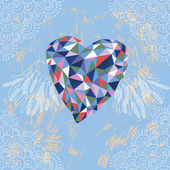 Crystal Heart with Wings — 图库矢量图片