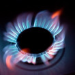Blue flames of a burning natural gas — Stock Photo