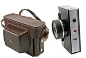 Old brown leather camera case — Stock Photo