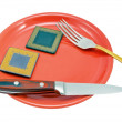 CPU on the red plate - Lizenzfreies Foto