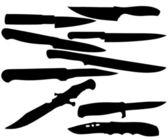 Silhuetas de facas — Foto Stock