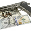 Stock Photo: Gun and money