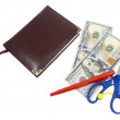 Notebook, pen, scissors and dollars — Stock Photo