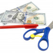 Pen, scissors and dollars — Stock Photo