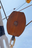 Wooden pulley — Stock Photo