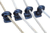 Wooden sailboat pulleys and ropes — Stock Photo