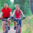 Stock Photo: Mature couple riding bicycle