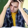 Studentv meditation on the exam — Stock Photo