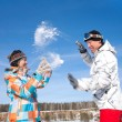Couple play in snow — Stock Photo #13356497
