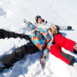 Couple play in snow — Stock Photo
