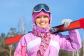 Woman - skier — Stock Photo