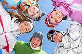Friends on winter resort — Stock Photo