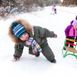 Children with sleds in winter — Stock Photo