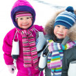 Stock Photo: Little skaters in wintertime