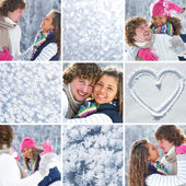 Collage of couple in wintertime — Stock Photo
