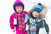 Little skaters in wintertime — Stock Photo