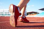 Foots of runner on start — Stock Photo