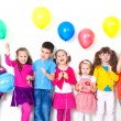 Happy children with balloons — Stock fotografie