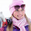 Cute sporty blond in winter — Stock Photo
