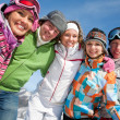 Friends in winter resort - Stockfoto