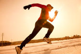 Jogging in winter — Stock Photo
