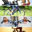 Collage of photographs on the theme of cycling recreation — Foto Stock