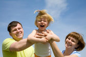 Family time - playful family outdoor — Stock Photo