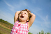 Excited Little Girl Outside — Stock Photo