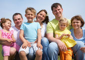 Attractive portrait great families with their children — Stock Photo
