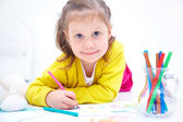 Girl is drawing — Stock Photo