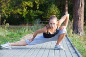 Stretching before fitness — Stock Photo