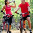 Cycling together  — Stockfoto