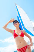 Woman on yacht — Stock Photo