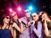 Karaoke on party — Stock Photo