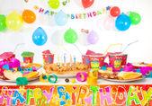 Birthday table — Stock Photo