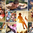 Collage of photos of rock climbing — Stock Photo #28611515