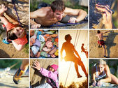 Collage of photos of rock climbing — Stock Photo