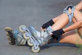 Legs Wearing Roller Skating Shoe — Stock Photo